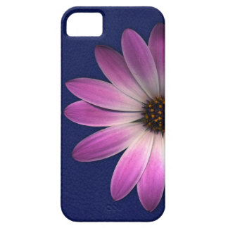 Pink Magenta Daisy on Royal Blue leather Print iPhone SE/5/5s Case