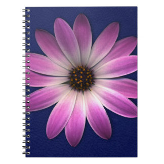 Pink Magenta Daisy on Royal Blue leather Print Notebook
