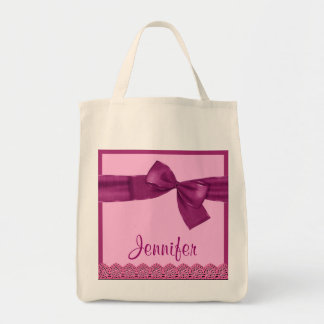 PINK MAGENTA Faux Bow and Lace Custom Name Bags