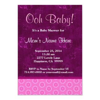 Pink Magenta Flowrs Butterflies Girl Baby Shower Card
