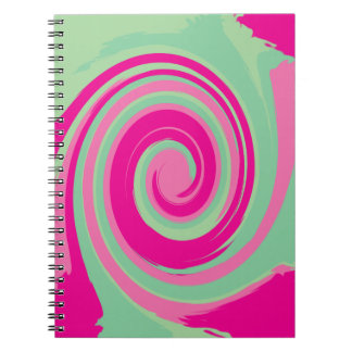 Pink Magenta Green and Mint Green Twirl Notebook
