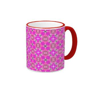 Pink Magenta Modern Abstract Flower Quilt Ringer Coffee Mug