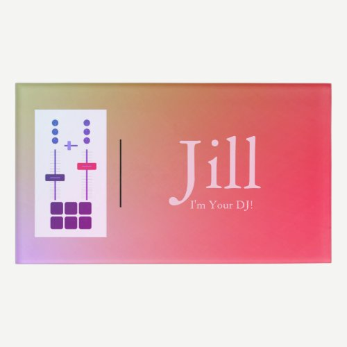 Pink Magenta Orange DJ Name Tag
