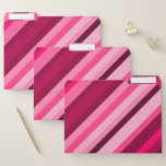 [ Thumbnail: Pink/Magenta Stripes Pattern File Folders ]