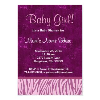 Pink Magenta Zebra Butterflies Girl Baby Shower Card