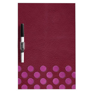 Pink MagentaPolka Dots on Red Wine Leather Texture Dry Erase White Board