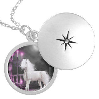 Pink Magical Unicorn Silver Plated Necklace
