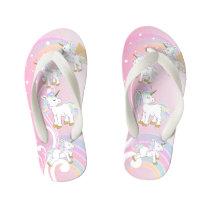 Pink Magical Unicorns Kid's Flip Flops