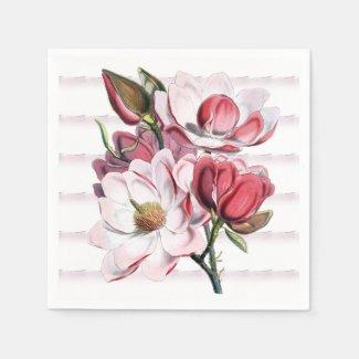Pink Magnolia Blooms Floral Paper Napkins