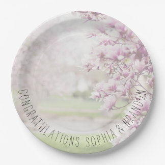 Pink Magnolia Blossoms Custom Text Paper Plate