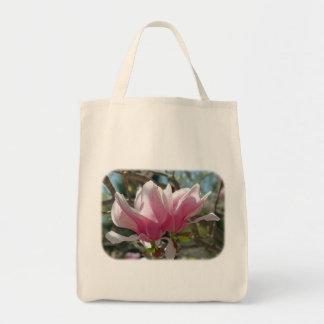 Pink Magnolia Blossoms Floral Nature Tote Bag