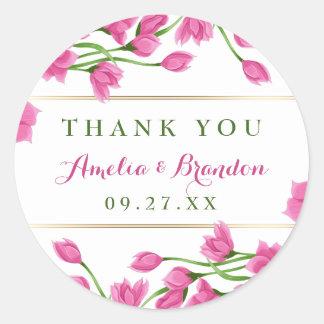 Pink Magnolia Buds & Flowers Wedding Classic Round Sticker