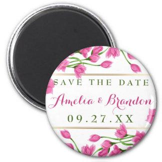 Pink Magnolia Buds & Flowers Wedding Magnet