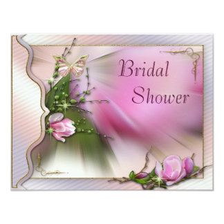 Pink Magnolia Butterfly Sparkle Bridal Shower Card
