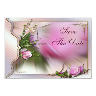 Pink Magnolia Butterfly Sparkle Save the Date Card