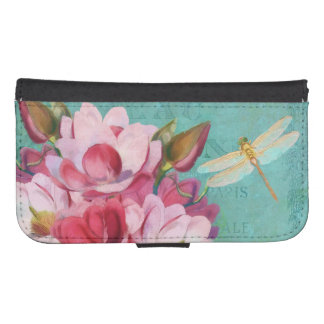 Pink Magnolia flower, dragonfly Phone Wallet Cases
