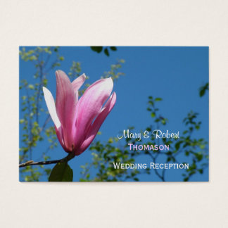 Pink magnolia flower wedding reception details business card