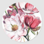 Pink Magnolia Flowers Classic Round Sticker
