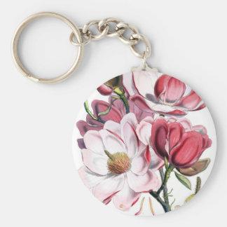 Pink Magnolia Flowers Basic Round Button Keychain