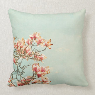 Pink Magnolia Flowers on Aqua Blue Green and Frenc Throw Pillow