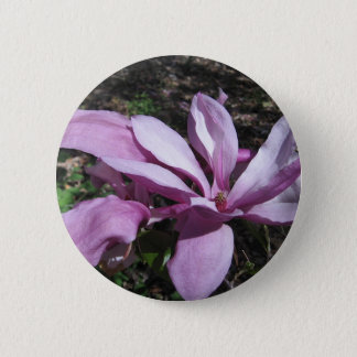 Pink Magnolia In Bloom Pinback Button