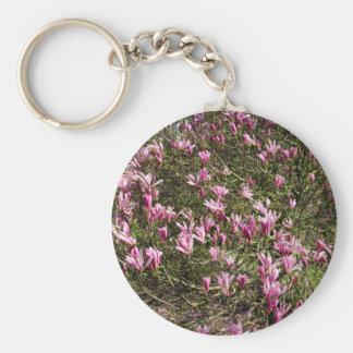 Pink Magnolia Basic Round Button Keychain