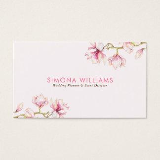 Pink Magnolia Modern Watercolors Illustration Business Card