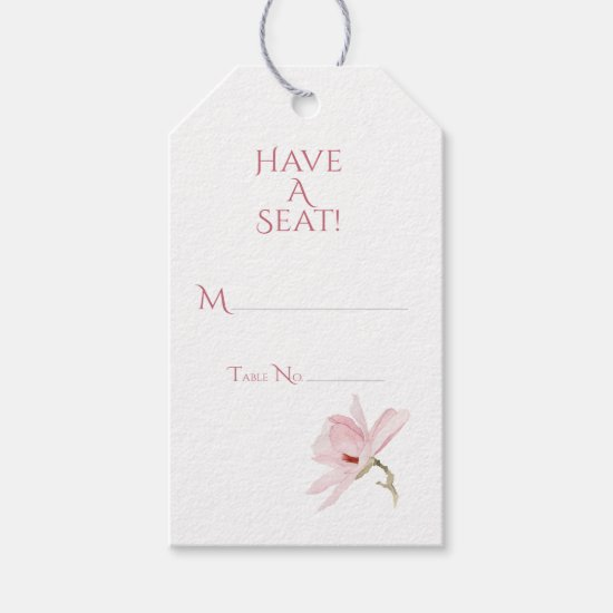 Pink Magnolias and Greenery Gift Tag Place Cards