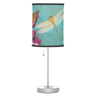Pink magnolias, dragonfly original art table lamp
