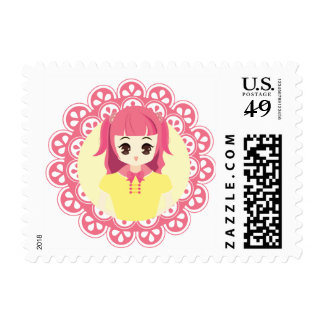 Pink Maid Girl Illustration Postage Stamp