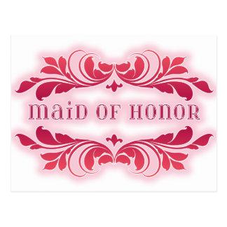 Pink Maid Of Honor Elegant Flourish Design Postcard