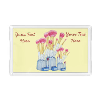 Pink make up brushes in holder still life art serving tray