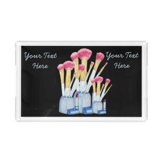 Pink make up brushes in holder still life design serving tray