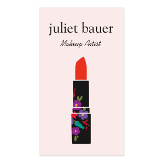 Pink Makeup Artist Floral Lipstick Logo Beauty Double-Sided Standard Business Cards (Pack Of 100)