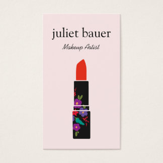 Pink Makeup Artist Floral Lipstick Logo Beauty Business Card