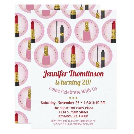 Pink Makeup Cosmetics Birthday Invitation Lipstick