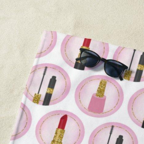 Pink Makeup Cosmetics Pattern Cosmetology Beach Towel