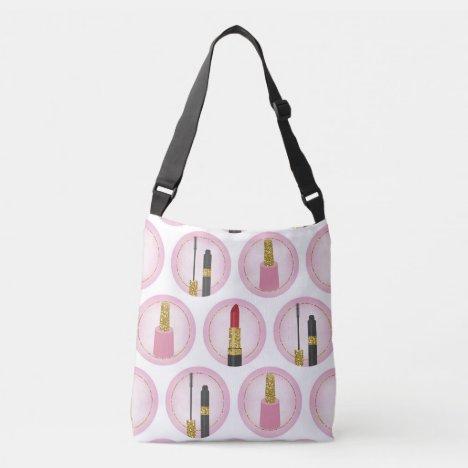 Pink Makeup Cosmetics Pattern Cosmetology Crossbody Bag