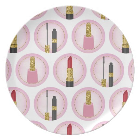 Pink Makeup Cosmetics Pattern Cosmetology Dinner Plate