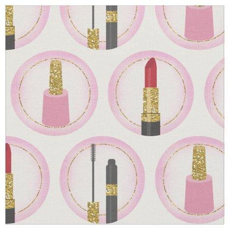 Pink Makeup Cosmetics Pattern Cosmetology Fabric