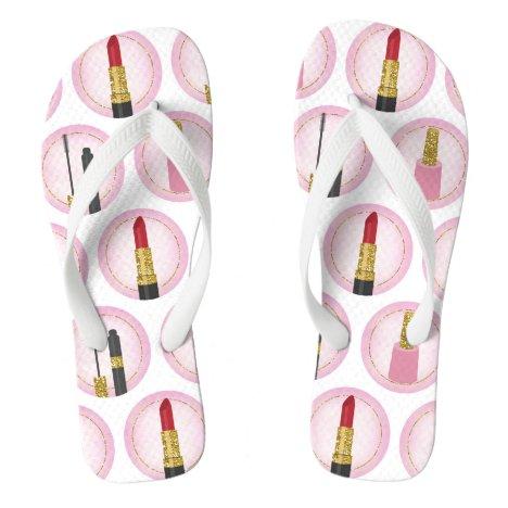 Pink Makeup Cosmetics Pattern Cosmetology Flip Flops