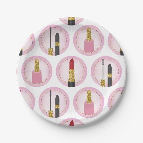Pink Makeup Cosmetics Pattern Cosmetology Paper Plate