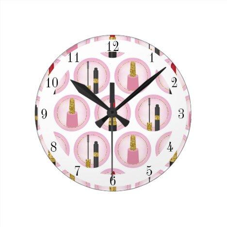 Pink Makeup Cosmetics Pattern Cosmetology Round Clock
