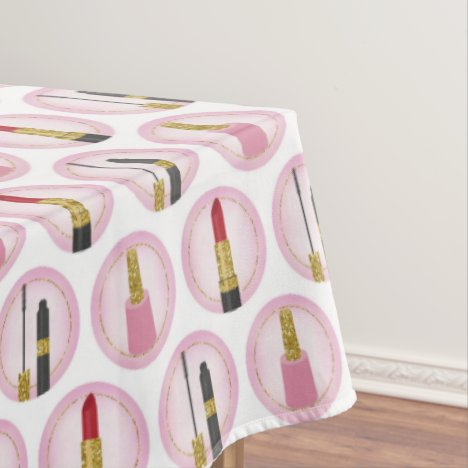 Pink Makeup Cosmetics Pattern Cosmetology Tablecloth