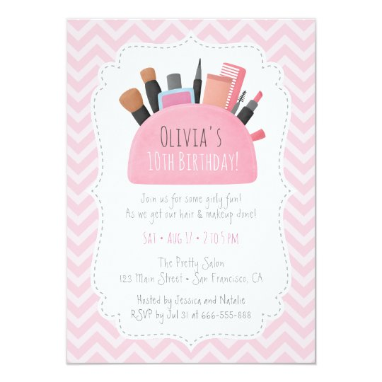 pink makeup pouch girls birthday party invitations zazzle com