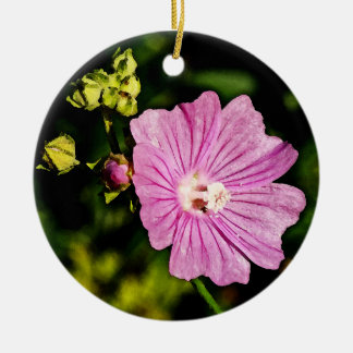 Pink Malva with Buds Double-Sided Ceramic Round Christmas Ornament