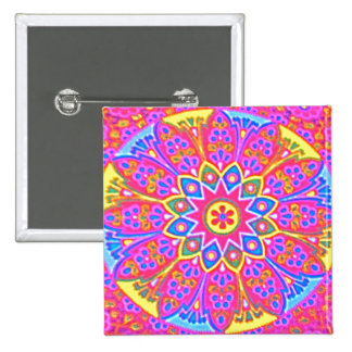 Pink Mandala Button square