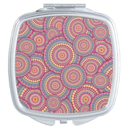 Pink Mandala Hippie Pattern Compact Mirrors