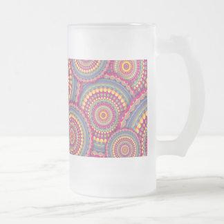 Pink Mandala Hippie Pattern Frosted Glass Beer Mug