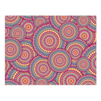 Pink Mandala Hippie Pattern Postcard